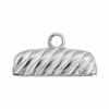 End Cap For 24x3mm Cord Rectangle Silver